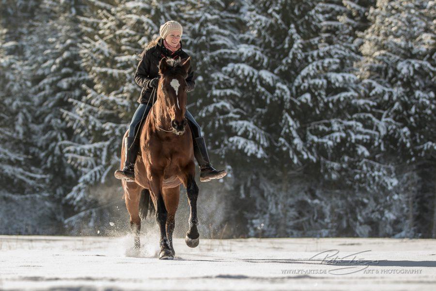Susanne Lohas und Billy - frei im Galopp durch die Schneelandschaft